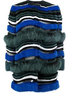меховое пальто в полоску Fendi