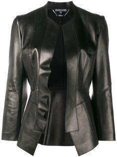 кожаный пиджак с баской Alexander McQueen