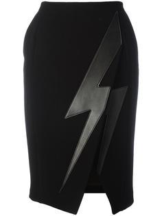 юбка с аппликацией молнии  Neil Barrett