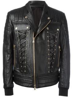 байкерская куртка на шнуровке  Balmain