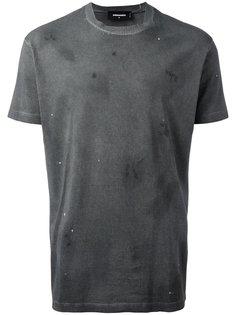 рваная футболка с миниатюрными заклепками Dsquared2