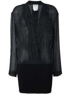 рубашка в тонкую полоску с подолом в рубчик DKNY