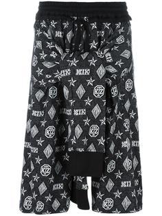 шорты с узелком спереди в принт с монограммой KTZ