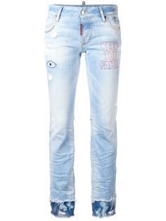 джинсы с вышивкой Flare Dsquared2
