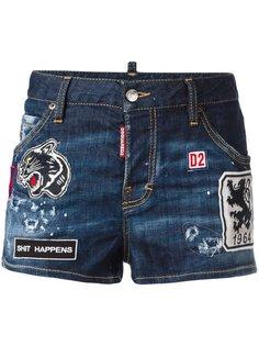 джинсовые шорты с нашивками Dsquared2