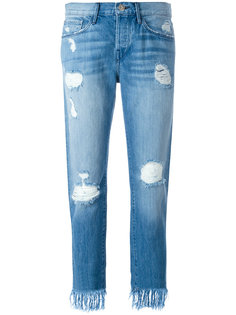 укороченные джинсы с потертой отделкой 3X1