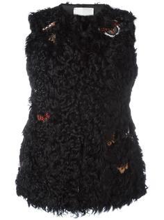 меховая жилетка с вышивкой Valentino