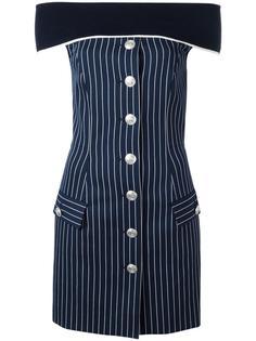 полосатое платье с открытыми плечами Pierre Balmain