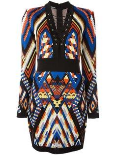 платье с узором Balmain