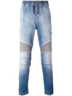 байкерские джинсовые спортивные брюки Balmain