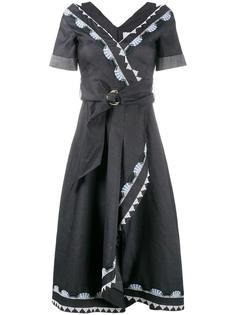 платье с запахом и вышивкой Peter Pilotto