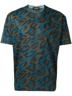 футболка с леопардовым принтом   Dsquared2