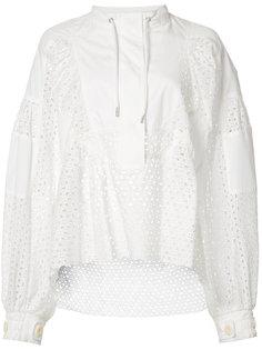 кружевная рубашка с перфорированным дизайном Sacai