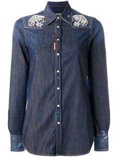 рубашка с вышивкой якорей  Dsquared2