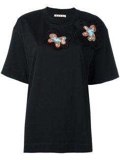 футболка с цветочной аппликацией Marni