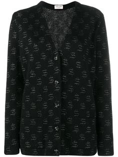 кардиган с вышитыми значками доллара Saint Laurent