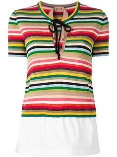 полосатая вязаная футболка Nº21