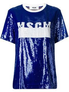 футболка с пайетками и логотипом MSGM