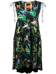 платье с V-образным вырезом и принтом птиц Nº21