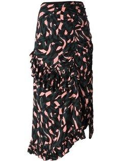 юбка с оборками и узором Shatter Marni