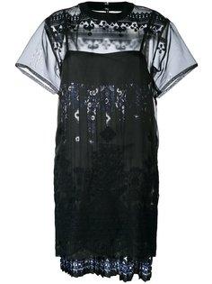 платье из органзы с кружевом Sacai