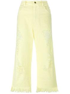 укороченные джинсы с потертой отделкой Marco Bologna