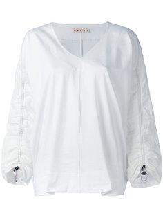 блузка со сборками на рукавах Marni