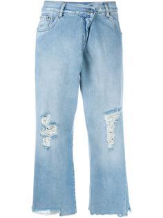 укороченные джинсы с протертостями Mm6 Maison Margiela