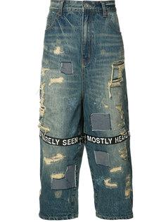 укороченные джинсы с рваными деталями Mostly Heard Rarely Seen