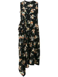 асимметричное платье с цветочным узором Marni
