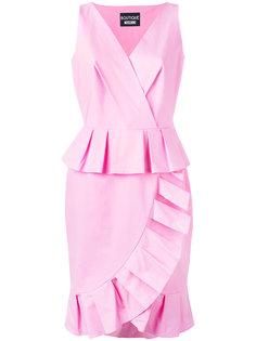 платье с V-образным вырезом и рюшами Boutique Moschino
