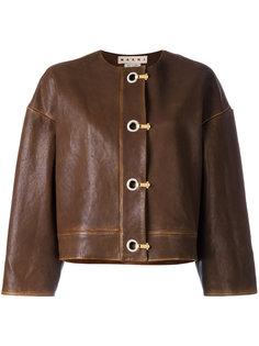 кожаная куртка с застежкой на крючки Marni