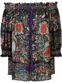 блузка с открытыми плечами и цветочным узором Roberto Cavalli