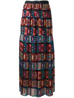плиссированная юбка с кружевом Sacai
