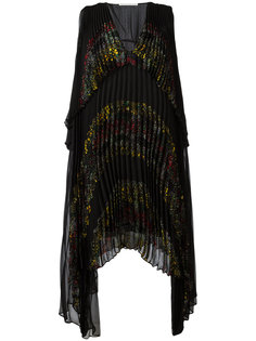 плиссированное платье с цветочным принтом Marco De Vincenzo