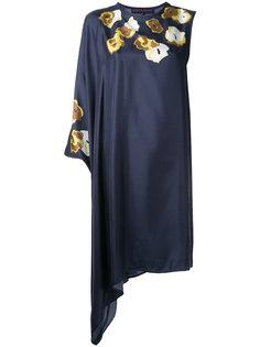 асимметричное платье с цветочным принтом Martin Grant