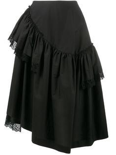 юбка с оборками и кружевной отделкой Simone Rocha