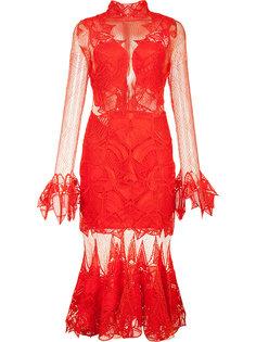 прозрачное платье с оборочным подолом Jonathan Simkhai