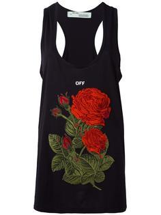 топ с вышивкой розы  Off-White