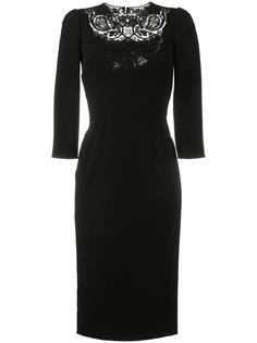 приталенное платье с кружевной вставкой Dolce & Gabbana