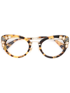 """очки с оправой """"кошачий глаз"""" Miu Miu Eyewear"""