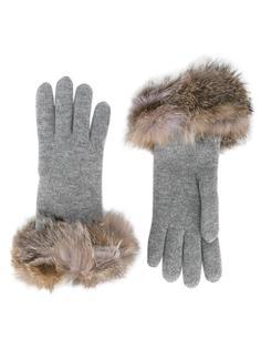 перчатки с оторочкой лисьим мехом Inverni