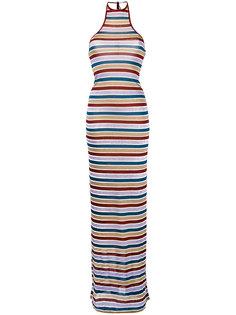 платье макси в полоску с эффектом металлик Dsquared2