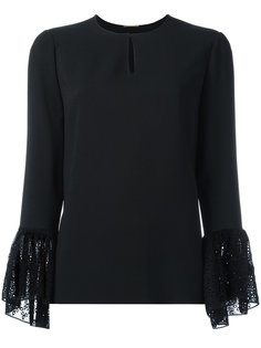 блузка с кружевными манжетами Saint Laurent