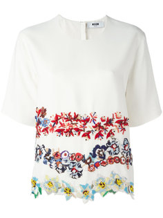 футболка с цветочной вышивкой MSGM