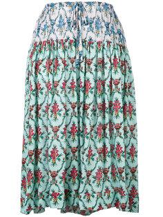 юбка длины миди с цветочным узором Jil Sander Navy