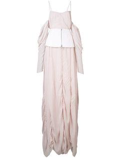 платье в пол с драпировкой Vera Wang