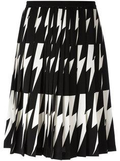 плиссированная юбка с принтом вспышек молнии Neil Barrett