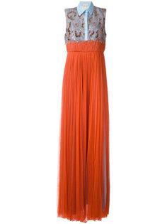 плиссированное платье-рубашка Delpozo