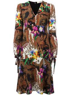 платье с V-образным вырезом и цветочным узором Etro